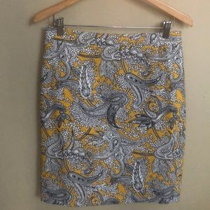 J Crew Factory Yellow Paisley Pencil Skirt